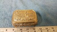 VINTAGE Silver Plated ORNATE Footed Trinket Box RED VELVET FLOWERS, COUPLE