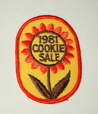 Vintage 1981 Girl Scouts Cookie Sale Flower Cloth Patch NOS New