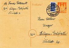 Bauten Ganzsache 8 Pfennig, Holstentor, Notopfer, Solingen, 25.10.1950
