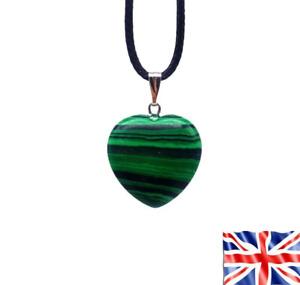 Malachite Heart Stone Chakra Reiki Yoga Pendant Rope Cord Necklace UK