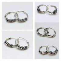 Fashion 925 Silver Ear Stud Hoop Dangle Earrings Men Women vintage Jewelry Gift