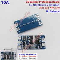 2S 10A 8.4V Li-ion Lithium 18650 Battery Cell BMS Protection PCB Board w/Balance