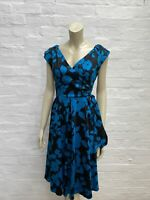 F32 Lady Vintage Retro 1950's Style Dress Harriet Black Blue Size 12 14
