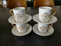 8pc RARE  HOTEL INTERCONTINENTAL DEMITASSE COFFEE CUPS & SAUCERS BAUSCHER WEIDEN