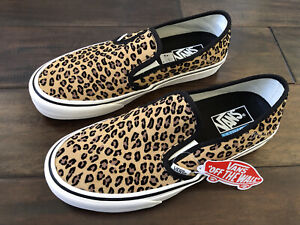 Vans Mini Leopard Ultracush Slip-On Sneakers Shoes.Suede Marshmallow.NIB Size9.5