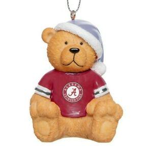 Alabama Crimson Tide Christmas Tree Holiday Ornament - Jersey Teddy Bear Santa