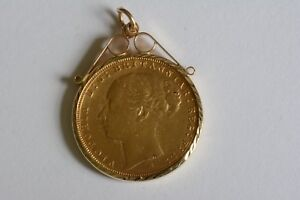 22Carat  YELLOW GOLD  VICTORIA 1885 FULL SOVEREIGN & 9Ct GOLD MOUNT PENDANT