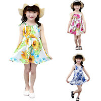 Toddler Kid Baby Girls Sleeveless Gallus Sunflower Print Floral Princess Dress
