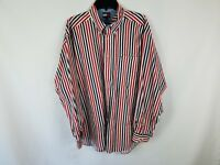 VTG Tommy Hilfiger Button Front Dress Shirt Men's Size XL Re White Blue Striped
