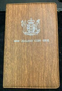 1976 NEW ZEALAND - OFFICIAL BU MINT SET (7) - ROYAL MINT - ORIG. BROWN WALLET