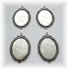 4 Ant. Silvertone INFINITI style 40mm x 30mm CAMEO craft PENDANTS Frame Settings