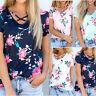 Summer Women Loose Short Sleeve Cotton Casual Blouse Shirt Tops Floral T-shirt