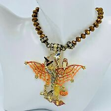 Kirks Folly Halloween Spider Witch Enamel Necklace with Dangle Charms