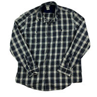 LL Bean Mens XL Regular Flannel Plaid Slightly Fitted Button Down Shirt Top Blue