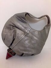 Jimmy Choo Purse Metalic Grey Leather Hard Enamel Bottom Metal