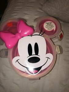 New Disney Minnie Mouse Silicone Plate With Lid Lunch