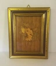 Vintage framed wood picture of a flower mid-century modern style neutral tones