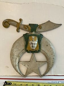 Vintage Shriners Masonic Freemason Mason Cast Metal Wall Plaque Mount Salvage