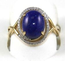 Oval Lapis Lazuli Gemstone & Diamond Halo Solitaire Ring 14k Yellow Gold 2.96Ct