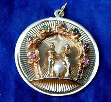 Vintage 14k Yellow Gold Wedding Bride & Groom Charm for Bracelet Engraveable