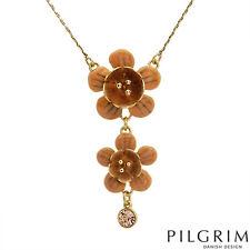 "PILGRIM Skanderborg Denmark ""FLOWERS"" Enamel & Crystal Goldtone Necklace BNWT"