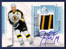 2004-05 Joe Thornton SP Authentic Rookie Review GU Patch Auto 54/100 Bruins
