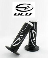Poigné BCD Noir Blanc guidon Scooter Moto Bike Rubber Grip handlebar White Black