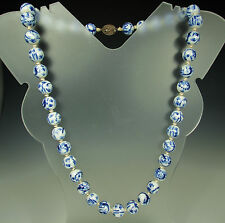 """1920s SILVER & PORCELAIN BEAD Chinese Necklace~Cobalt Blue on White~26"""" L~95.9g"""