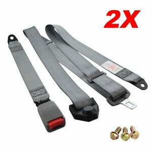 2piece Fits Volvo 3 Point Fixed Harness Safety Belt Seat Belt Lap Strap Gray
