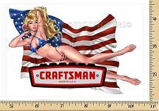 CRAFTSMAN TOOL STICKER USA GIRL VINTAGE GLOSSY DECAL LABEL MECHANIC TOOL BOX USA