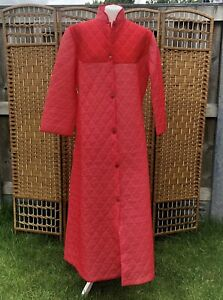Vintage Long Quilted Dressing Gown House Coat 12 - 14 Red Full Length Retro