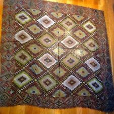 """New Anthropologie Sold Out silk wool Scarf by Tolani, kilim ethnic print 56""""x54"""""""