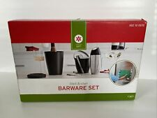 Black & Silver 4 piece Barware Set Bottle Chiller w/Refreeze-Able Cool Pack