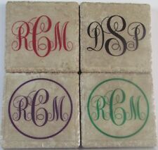 Personalized Natural Stone Ceramic Tile Drink Coasters - Set of 4 - Monogram 19F