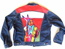 Malcolm Furlow Hand Painted 46L Jean Jacket Contemporary Native American Art!!!!