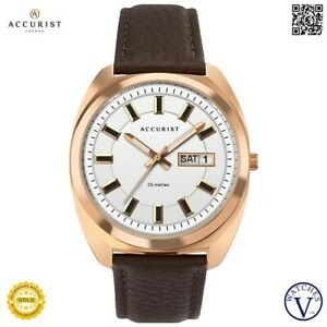 ACCURIST MEN'S WATCH ROSE GOLD CASE & SILVER WHITE DIAL 7336 (NEW)