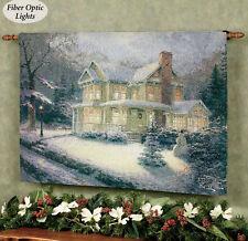 Thomas Kinkade Christmas Welcome Fiber Optic Tapestry Wall Hanging 36x26 Euc