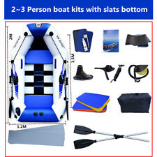 2m Inflatable Rafting Floating Boat Raft Set Oars + Slats Bottom for 3 Persons