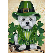 Welcome St. Patrick's Day dog Garden Flag Double-sided House Decor Yard Banner