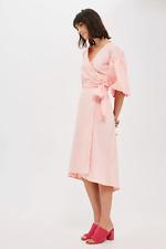Topshop Balloon Sleeve Wrap Midi Dress Coral Pink Size 10 Bnwt
