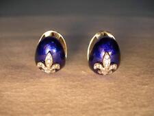 Gorgeous 18K White Gold Hidalgo Enamel Fleur-de-lis Diamond Earrings