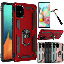 For Samsung Galaxy A51 Shockproof Armor Ring Stand Case Cover+ HD Tempered Glass