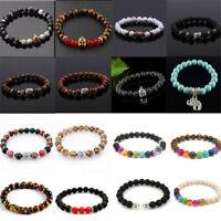 Men Natural Lava Rock Gemstone Beads Bracelet Buddha Head Charm Beaded Bracelet