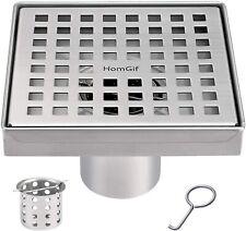 HomGif 5 Inch Quadrate Square Shower Floor Drain Bathroom Kitchen SUS 304 M165