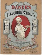 Early 1900's Baker's Flavoring Extracts Recipes Cakes Custards Candies Ice Cream