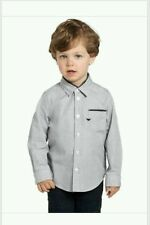 NEW ARMANI JUNIOR LOGO TODDLER BOYS DRESS SHIRT SIZE 6 5 GREY $170 GIFT