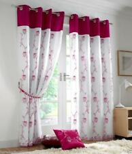 Tahiti Floral Faux Silk Lined Ready Made Voile Eyelet Ring Top Curtains Pair