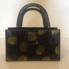 Angela Frascone Black & Green Polka Dot Box Purse