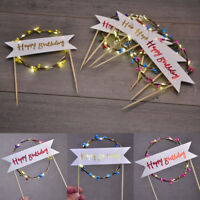 Happy Birthday LED Light Flashing Rattan Garland Cake Inserted Party Decorations