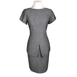 KASPER Women 2 PC Gray Polyester Lined Short Sleeves Skirt Top Size 4P